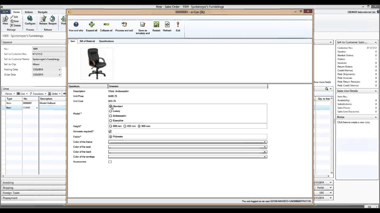 Configuring a chair in Microsoft Dynamics NAV 2013