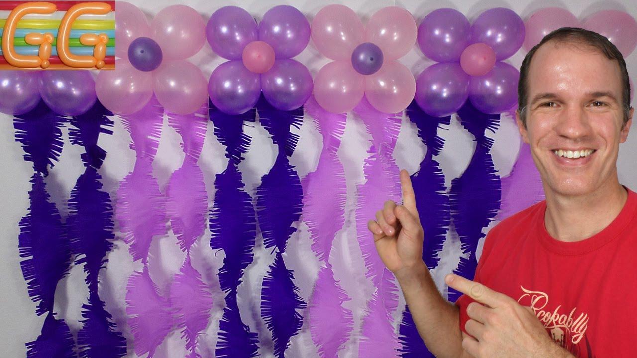 Cortina de papel crepe y globos decoracion con globos - Decoracion en cortinas ...