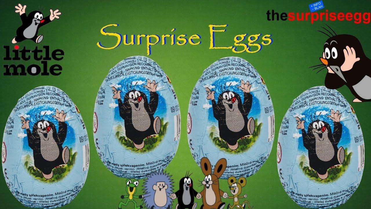4 little mole der kleine maulwurf krtek krte ek chocolate surprise eggs unwrapping toys youtube. Black Bedroom Furniture Sets. Home Design Ideas