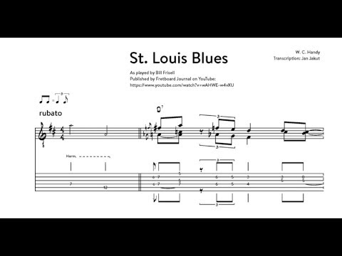Solo Guitar Minute Study: Bill Frisell - St. Louis Blues (solo) transcription excerpt