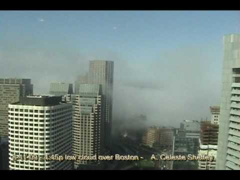 Low flying cloud over downtown Boston