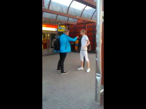 Itäkeskus metro station, drunk people fighting, Helsinki, Finland
