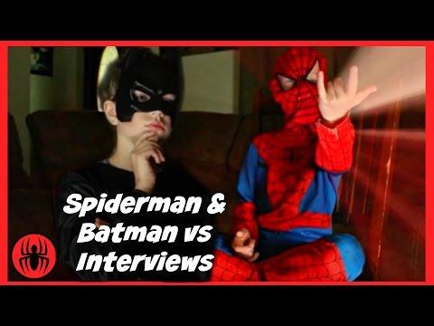 Little Heroes Spiderman & Batman vs interviews, superheroes fun in real life comics   SuperHero Kids