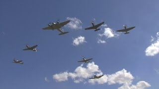 WW2 Mosquito fighter bomber with six fighters at Wings Over Wairarapa