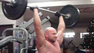Жим штанги стоя с груди над головой. Армейский жим, упражнение для передних дельтовидных мышц.