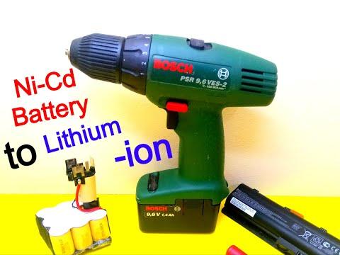 DIY BOSCH Ni Cd To Lithium Li-ion battery using18650 cells