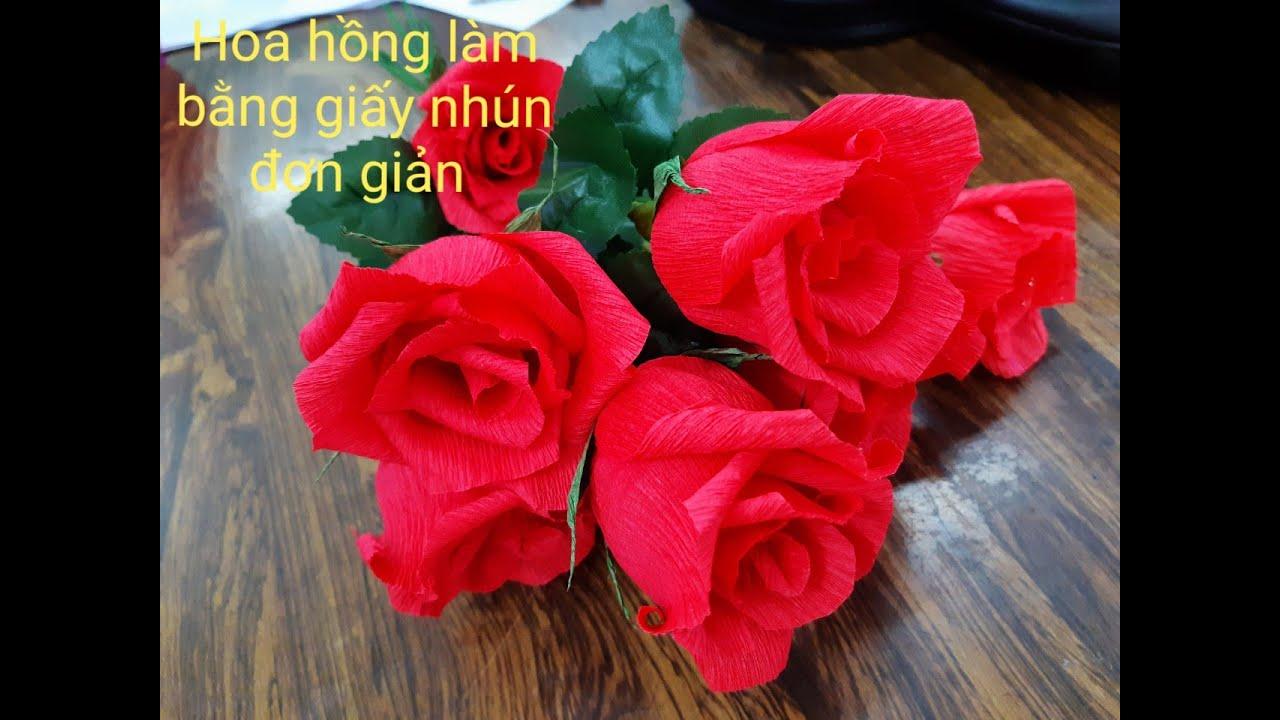 Hướng dẫn làm hoa hồng bằng giấy nhún đơn giản-Instructions for making simple paper shrug roses