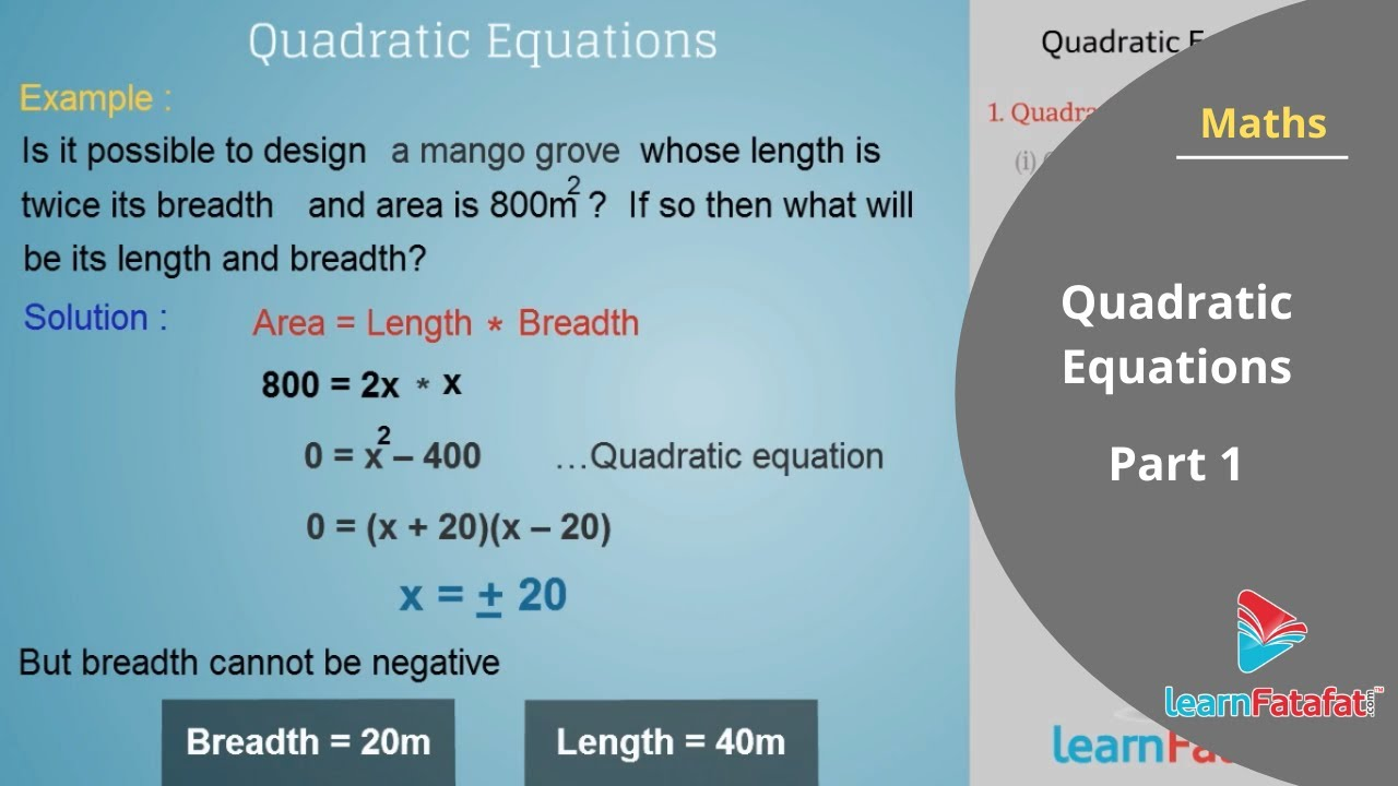 Quadratic Equations Class 10 Mathematics