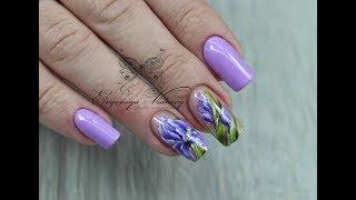 Коррекция с аквариумом/ Роспись ногтей китайской росписью