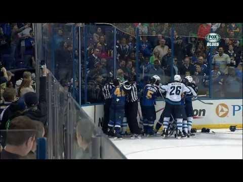 Giant scrum late 3rd. Ryan Reaves, Dustin Byfuglien Winnipeg Jets vs St. Louis Blues 3/17/14 NHL