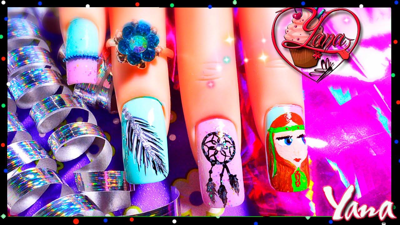 Decorado De Uñas Atrapasueños Nail Art Hippie Yana Youtube