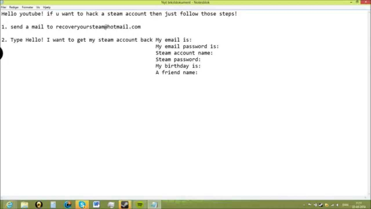 How to hack a steam Account Free no download 2014