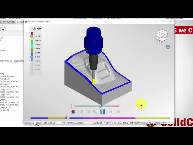 SolidCAM 2020 – Simulator Simulationswiedergabe Modus