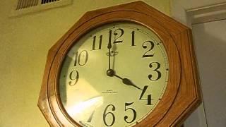 Solid Oak Wood School House Westminster Pendulum Battery Wall Clock 25.5