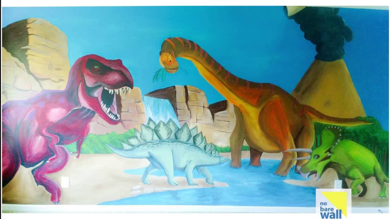 Hand Painted Dinosaurs Mural Youtube