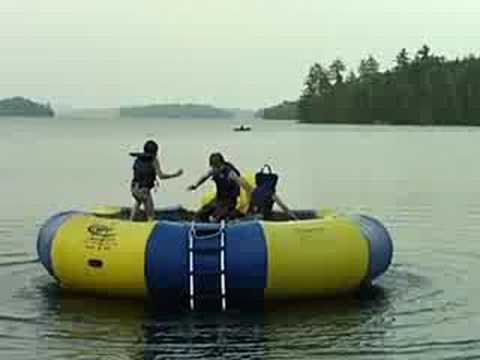 Last one standing on the Water trampoline
