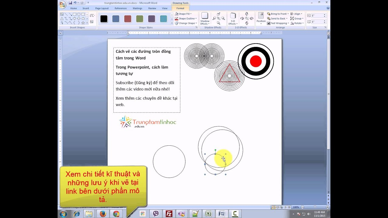 Vẽ các đường tròn đồng tâm trong Word và PowerPoint