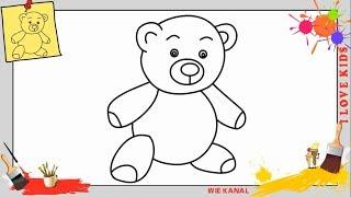 Teddybär zeichnen schritt für schritt für anfänger & kinder - Teddy Zeichnen lernen