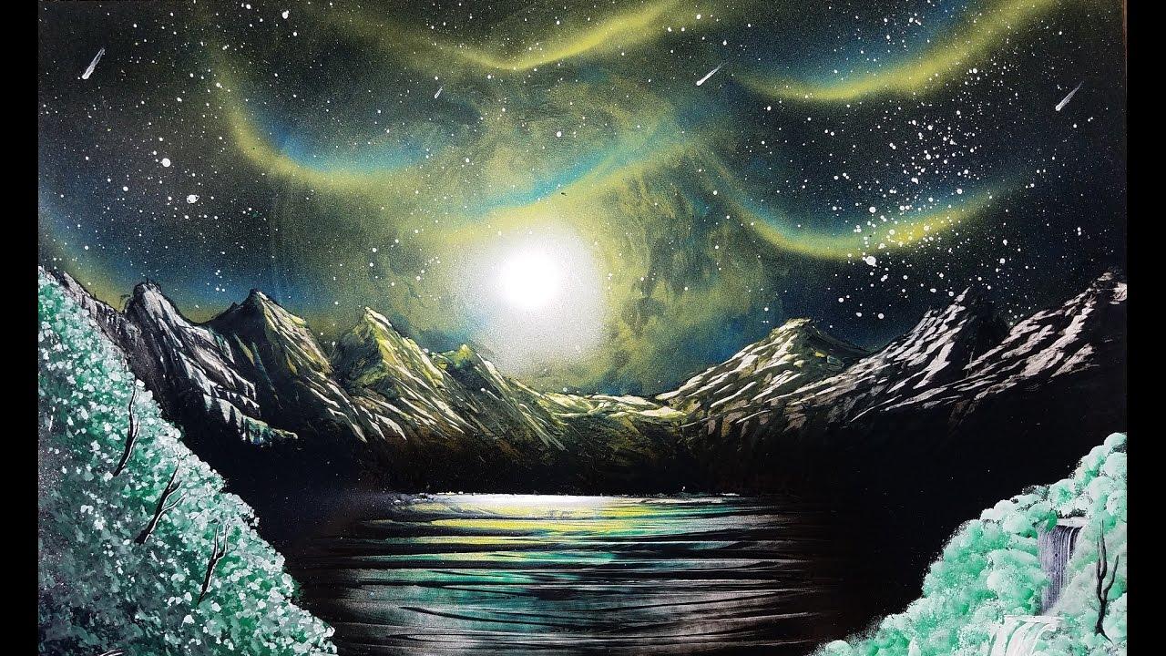 Northern Lights Spray Paint Art Tutorial Instructional 4x