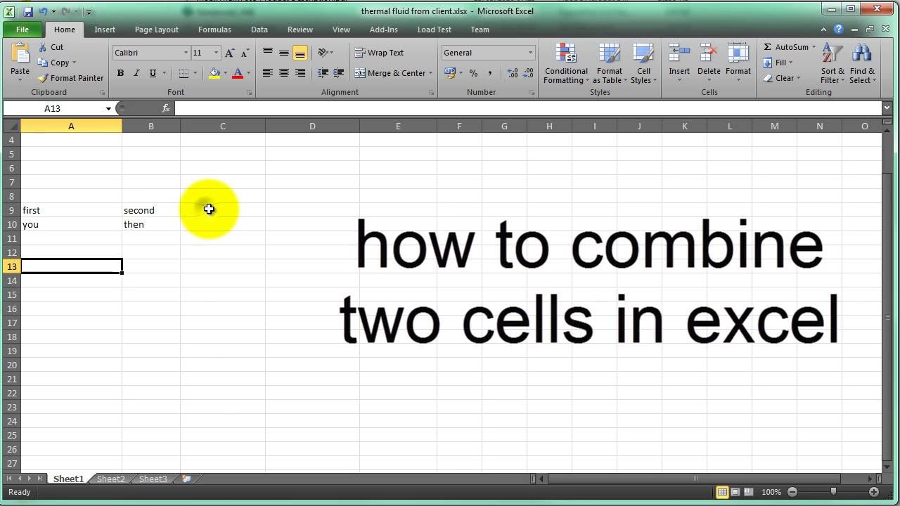 how to combine two cells in excel