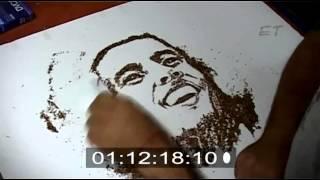 Amazing Portrait of Bob Marley using Tobacco