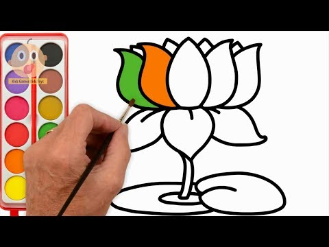 How to Draw Lotus | Learning Color with Flower Coloring Pages | Videos for Children