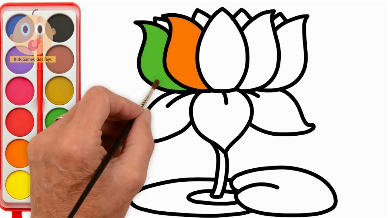 How to draw lotus learning color with flower coloring pages videos for children