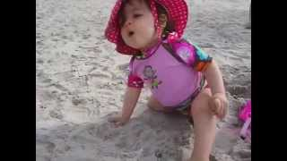 BLAST FROM THE PAST - Adorable Twin Baby Allie Toddling Around At The Beach