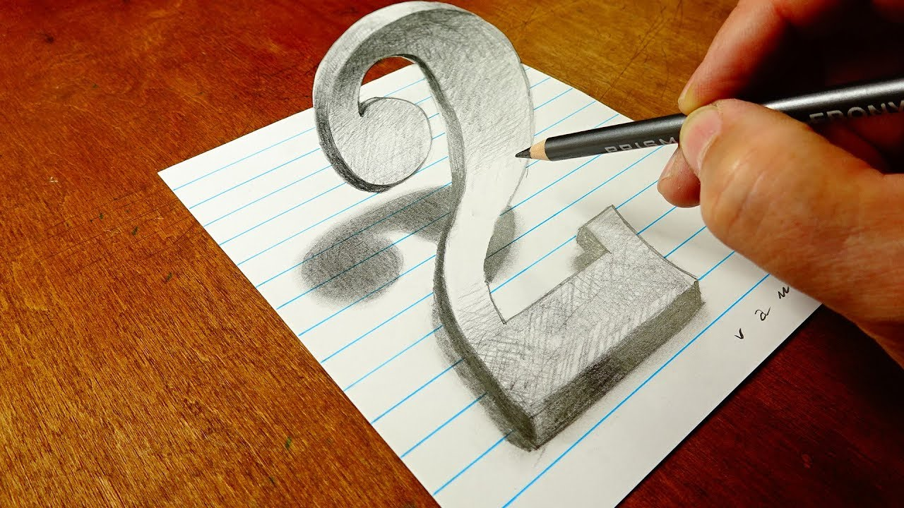 Drawing with Only a Graphite Pencil - 3D Number Two - By ...