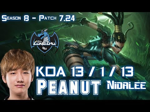 LZ Peanut NIDALEE vs KHA'ZIX Jungle - Patch 7.24 KR Ranked