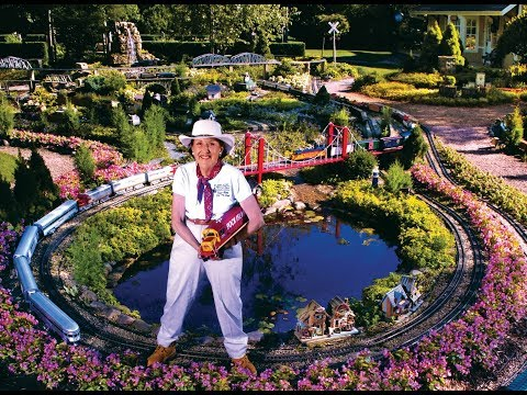 Model Railway Train Scenery -Large Garden Model Railroad RR LGB G Scale Gauge Layout of awesome trains Meet The Train Lady