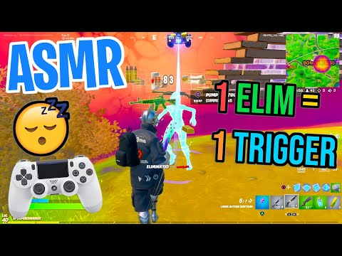 ASMR Gaming 😴 Fortnite 1 Elim = 1 Trigger Relaxing Mouth Sounds 🎮🎧 Controller Sounds + Whispering 💤