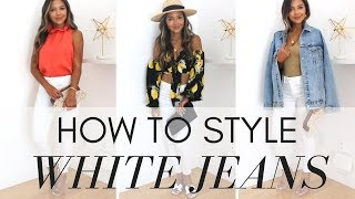 How To Style White Jeans  Day To Night| 5 Ways to Wear White Jeans + Lookbook