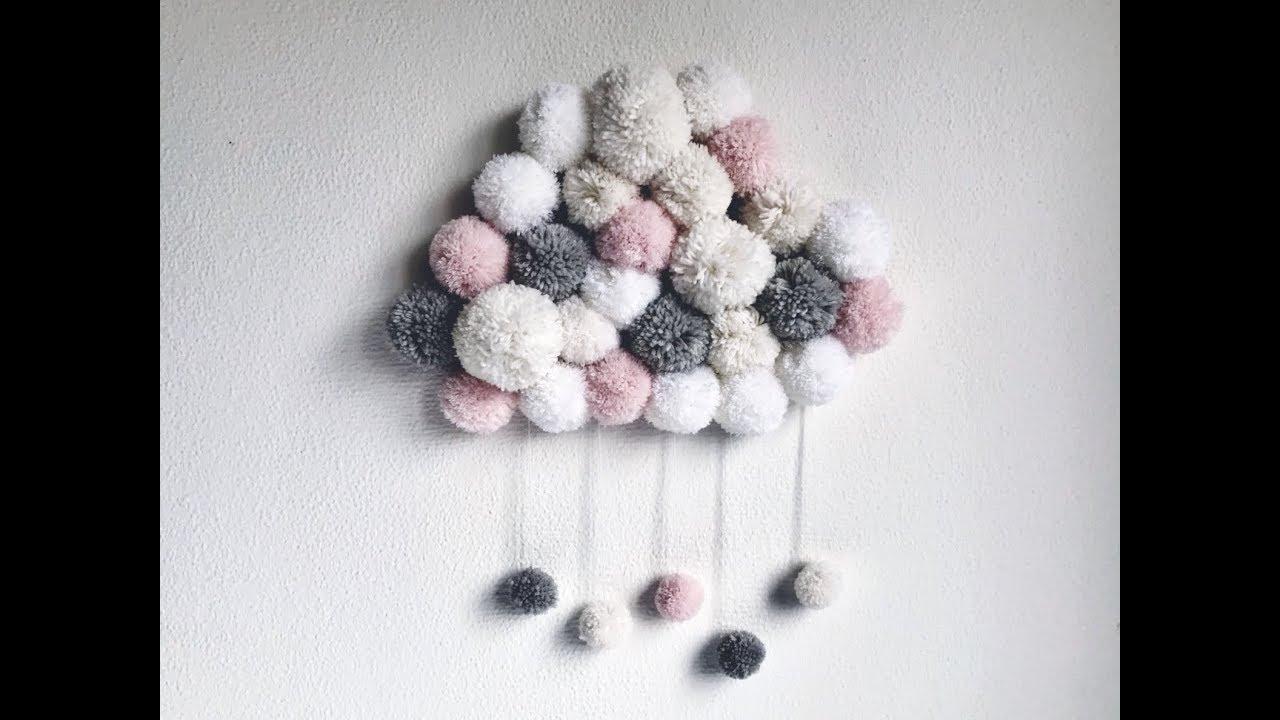 """Deco Pompons En Laine tuto diy : un """" nuage pompon """""""