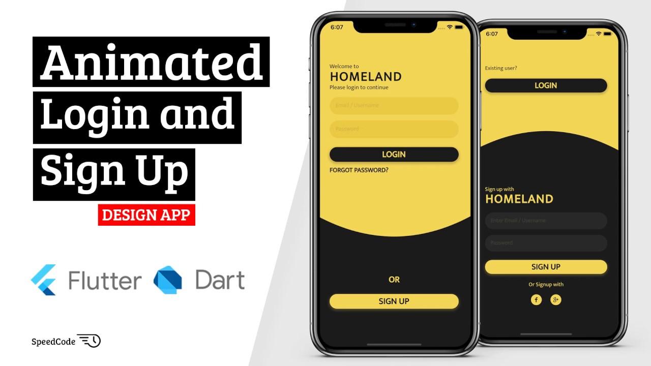 Animated Login and Sign Up Design App - Flutter UI - Speed Code