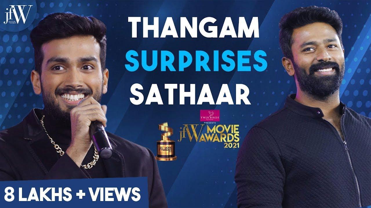 Thangam surprises Sathaar   JFW movie awards 2021   Kalidas Jayaram   Shanthanu Bhagyaraj