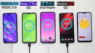 Realme 5 Pro(VOOC 3.0) Vs vivo Z1 Pro(Dual Engine) Vs Redmi K20(QC) Vs Redmi Note 7 Pro(QC) Charging