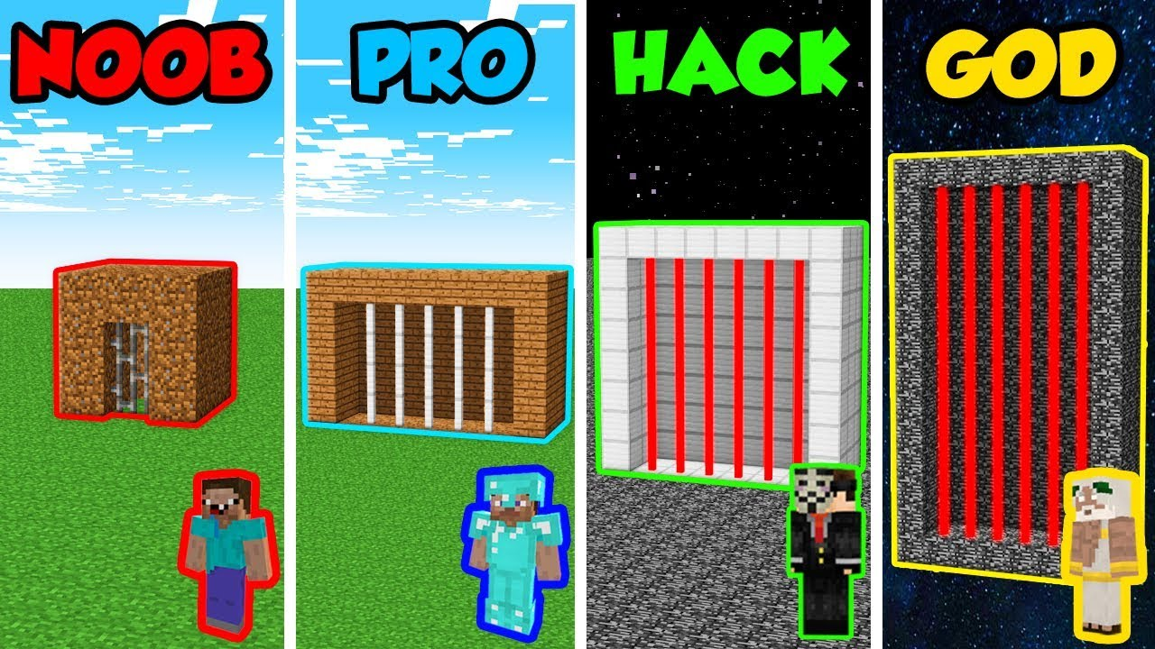 Minecraft Noob Vs Pro Vs Hacker Vs God Prison House In Minecraft Animation Youtube