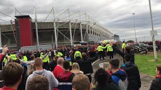 Sheffield United fans and boro fans outside Boro ground
