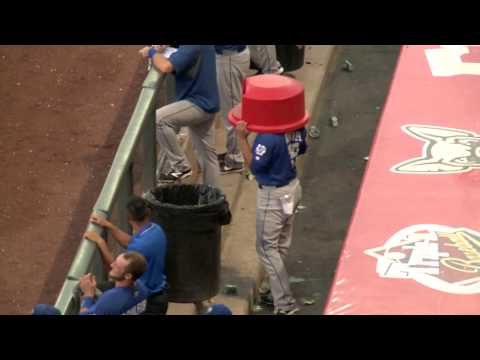 Foul Balls Hit Trash Can on Back to Back Pitches