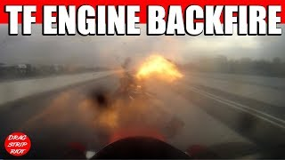 2013 March Meet Bakersfield Blower Explosion Onboard Nitro Top Fuel Mr Boston Nostalgia Drag Racing