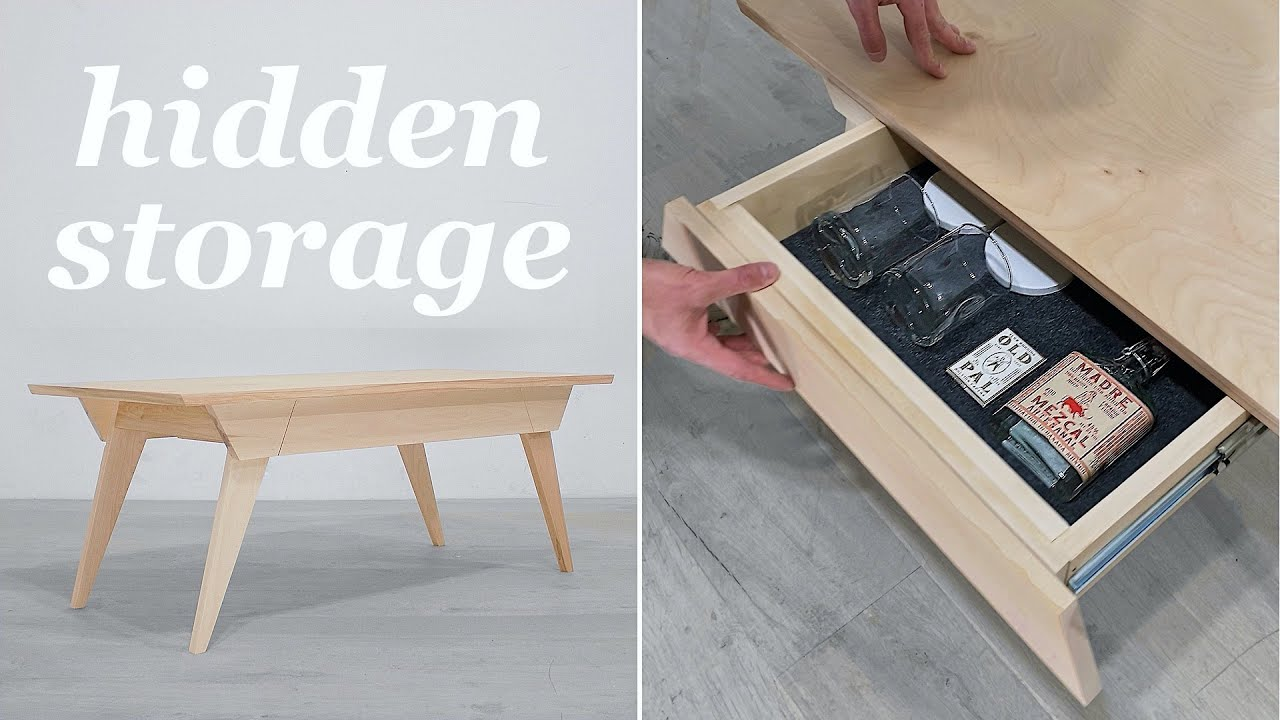 how to build a hidden storage coffee table mid century modern diy