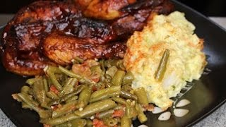 Kitchen Sink Bbq Cornish Hens &  Stewed Green Beans  (saturday Meal) How To Make
