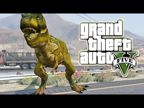 DINOSAURIO T-REX EN GTA 5!! Jugando como Dinosaurio -  GTA V Mods Gameplay