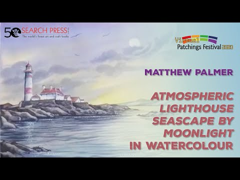 Atmospheric Lighthouse Seascape By Moonlight In Watercolour, Video By Matthew Palmer
