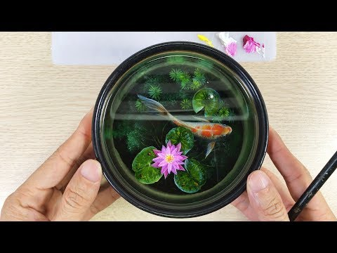3D Goldfish Painting On Resin Layers