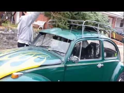 1968 VW Beetle Christmas Tree Holiday Greeting