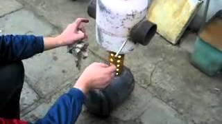 видео самодельная печь на отработке
