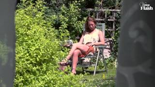 Ashleigh Embers nylon stocking tease in an English country garden!