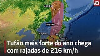 Tufão mais forte do ano chega com rajadas de 216 km/h
